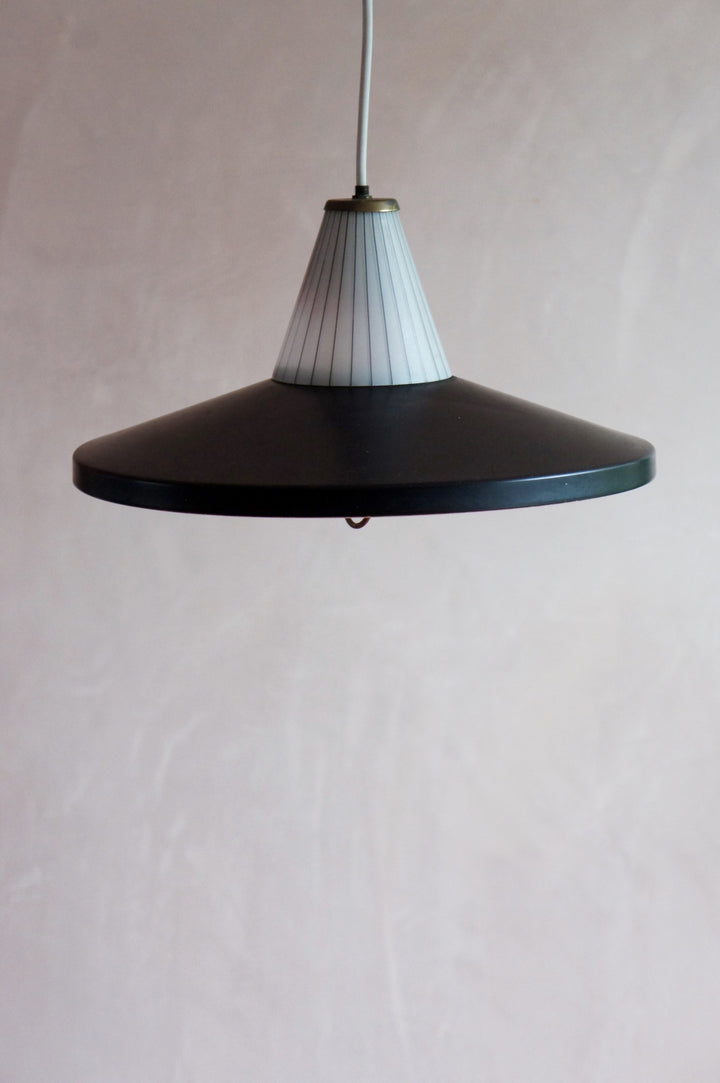 MID CENTURY FRENCH BLACK ENAMELLED HANGING LAMP