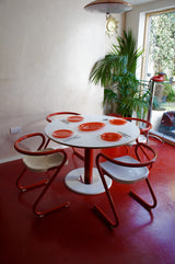 SWEDISH POST MODERN DINING TABLE AND CHAIRS