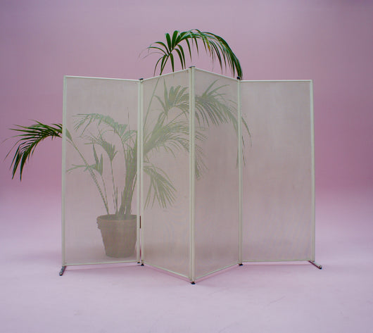 LARGE MIDCENTURY PUNCHED METAL ROOM DIVIDER SCREEN