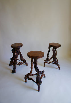 1950's FRENCH GRAPE VINE BAR STOOLS