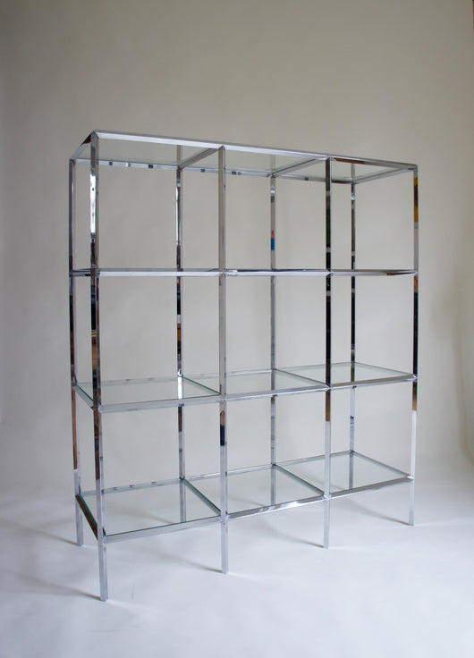 1970'S CHROME & GLASS SHELVING
