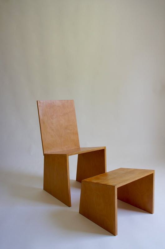 MODERNIST BEECH CHAIR & OTTOMAN
