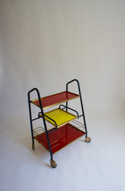 RED & YELLOW DRINKS TROLLEY