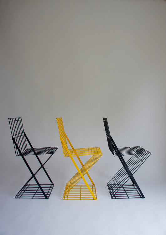 1980'S ITALIAN POSTMODERN METAL CHAIR SET