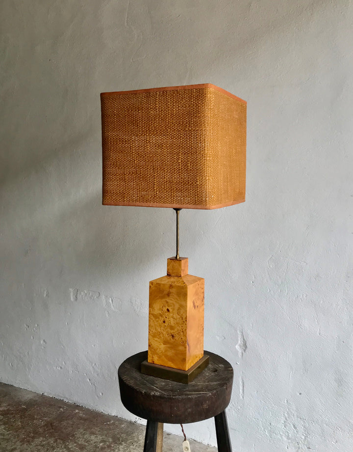 ITALIAN BURL WOOD & BRASS LAMP