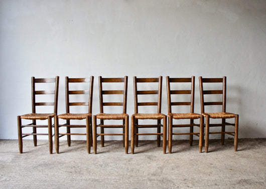 SET OF 6 1950'S CHARLOTTE PERRIAND NUMBER 19 CHAIRS