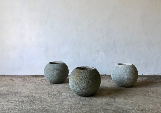 BRUTALIST SPHERICAL CONCRETE PLANTERS