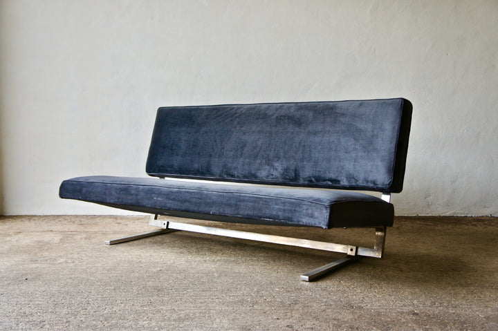 1970'S VELVET & CHROME SOFA