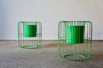 LARGE GREEN WIRE PLANT HOLDERS