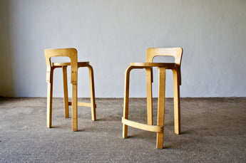 PAIR OF VINTAGE ALVAR AALTO K65 HIGH CHAIRS