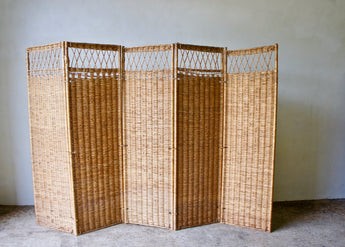 MID CENTURY WICKER SCREEN ROOM DIVIDER