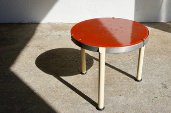 1940'S CIRCULAR METAL & GLASS SIDE TABLE