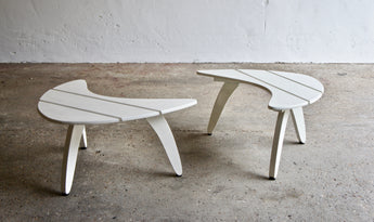 MIDCENTURY FRENCH SLATTED BOOMERANG TABLES