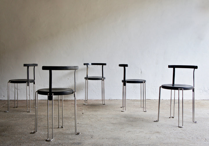 A SET OF 5 1980'S B4 BLA STATION CHAIRS BY BORGE LINDAU