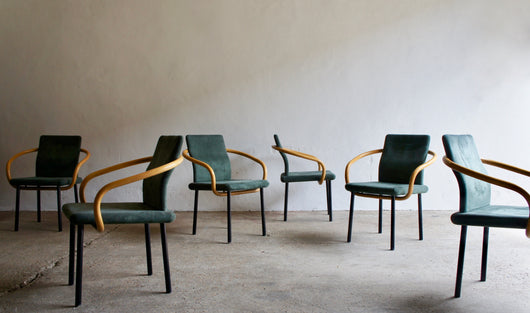 A SET OF 6 POST MODERN MANDARIN CHAIRS BY ETTORE SOTTSASS FOR KNOLL