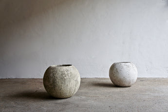 PAIR OF LARGE BRUTALIST SPHERICAL PLANTERS