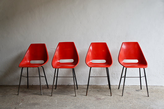 MIDCENTURY RED FIBREGLASS CHAIRS