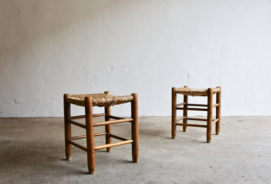 PAIR OF PERRIAND STYLE RUSH STOOLS