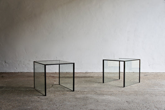 MINIMALIST GLASS SIDE TABLES