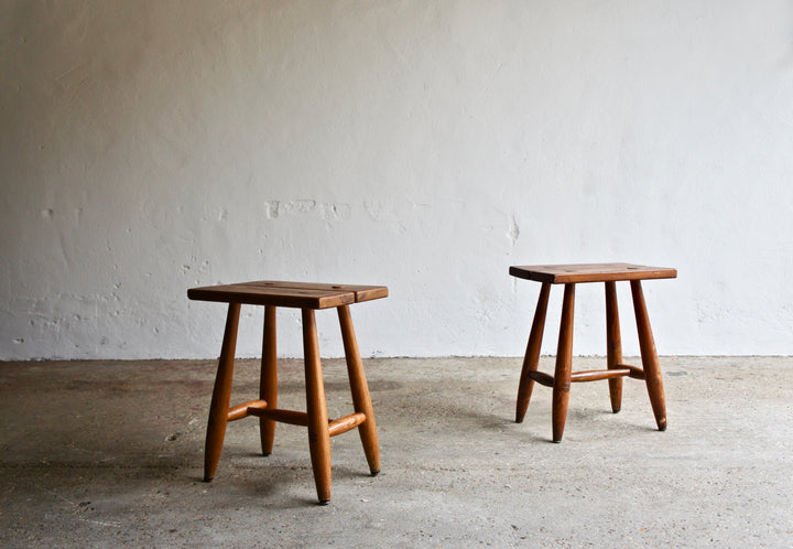 A PAIR OF FRENCH PERRIAND STYLE STOOLS
