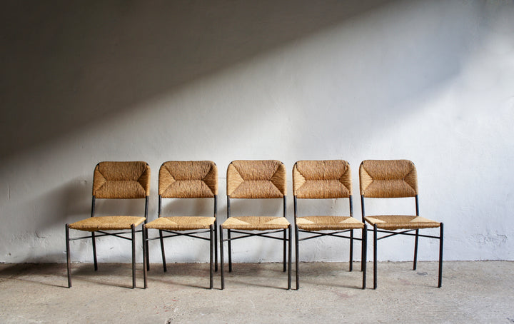 MIDCENTURY IRON FRAME RUSH CHAIRS
