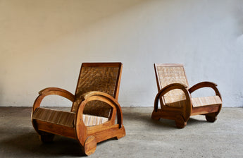 PAIR OF ART DECO WICKER LOUNGE CHAIRS
