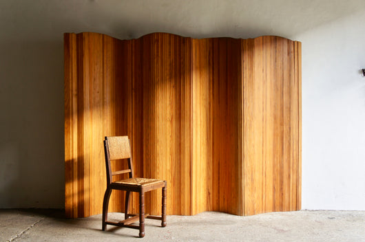 LARGE FRENCH MIDCENTURY TAMBOUR SCREEN
