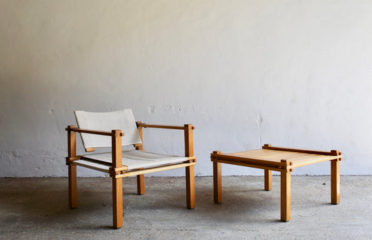 1960'S FARMER SAFARI CHAIR AND COFFEE TABLE BY GERD LANGE FOR BOFINGER