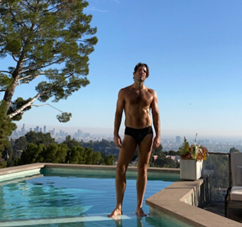 Zachery Quinto going for a dip in his speedos