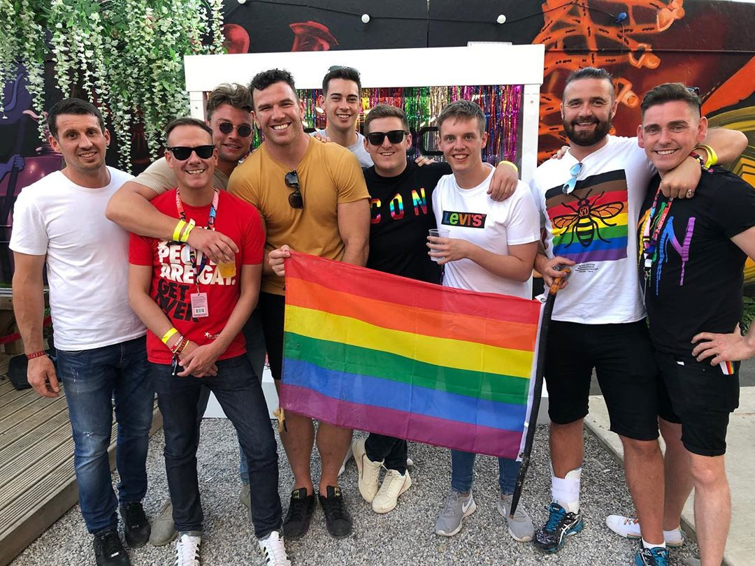 Keegan at a gay pride event
