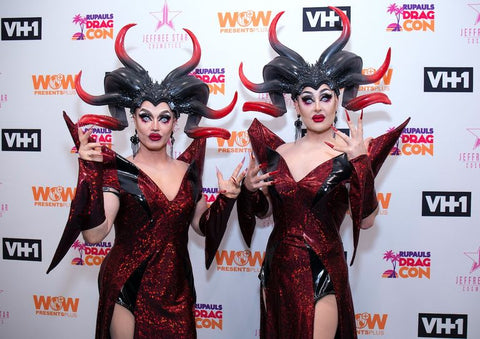 boulet brothers pointy headpieces at drag con red dresses