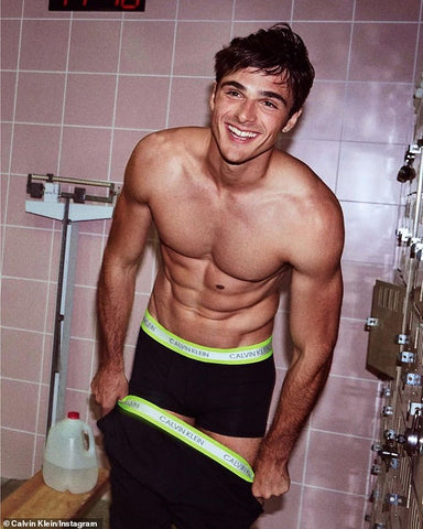 Jacob Elordi in calvin klein pants and no top