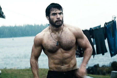 Henry Cavill outside topless wet hairy