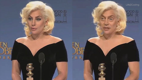 Lady Gaga original and with Steve Buscemi's face