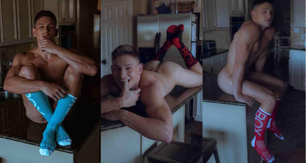 3 images of men in blue and red Box Menswear Lux Sport Socks