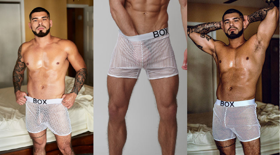 3 images of men in Box Menswear mesh / net shorts