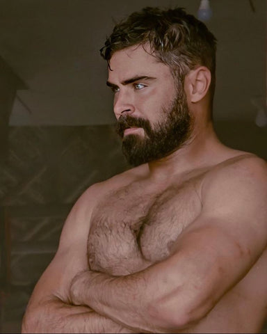 Zac efron topless hairy chest beard