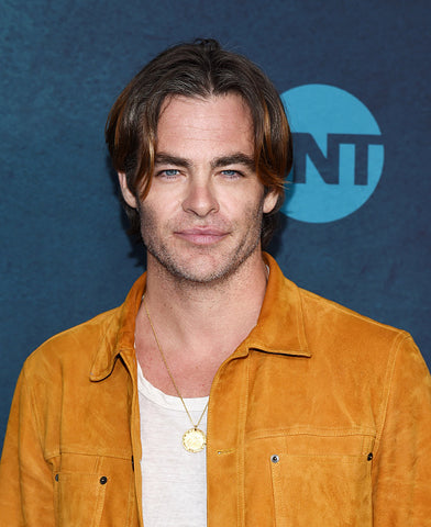 chris pine long hair suede jacket blue background