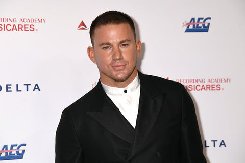 Channing Tatum with white shirt and black jacket with white background
