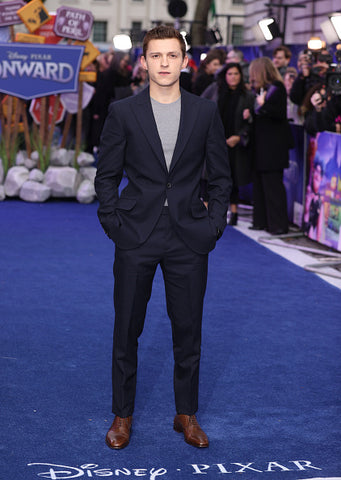 Tom Holland Blue Suit and Brown Shoes