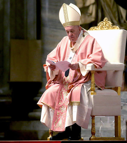 pope francis in pink ceremonial robes