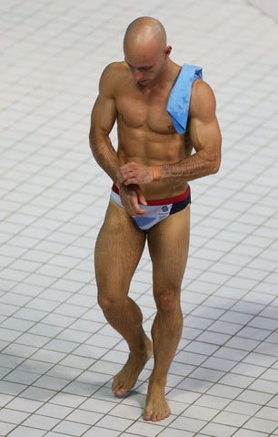 Peter Waterfield of team GB in tiny trunks