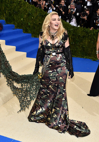 Madonna in camo dress at Met Gala awards 2017
