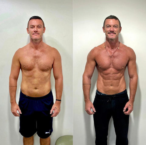 Luke Evans in black shorts muscly topless pecs