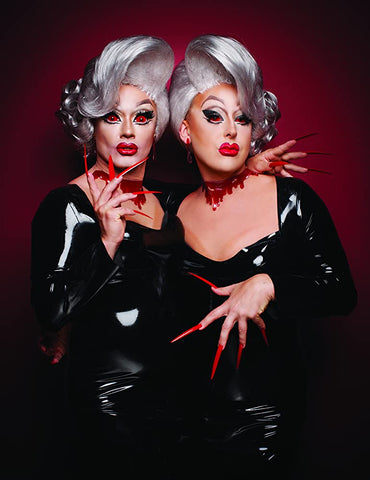 Boulet Brothers in grey wigs and black pvc