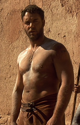 russell crowe in gladiator topless dad bod