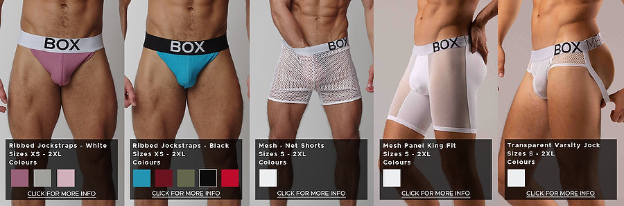 Five product photos side by side providing a comparison of fit and styles. From left to right, pictures purple jockstrap with a white waistband in a ribbed cotton material, cobalt blue jockstrap with black waistband in same material, white mesh shorts that can be seen through with white branded waistband, mesh king fit shorts with much finer mesh than the shorts making the thighs very visible featuring 6 inch legs that go far down the thigh, white transparent crotched varsity jock featuring the same mesh as the shorts but higher up showing hips