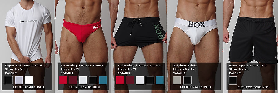 Five product photos side by side providing a comparison of fit and styles. From left to right, pictures white tight fitting t shirt featuring box menswear logo across the chest, red swimming trunks featuring a snug brief like fit and waterproof polyamide material with small white logo on left side, black swim shorts with longer and looser legs in black with large horizontal olive green logo on left leg, original white cotton briefs with white waistband and central box logo and jersey sports shorts in black and small whte box logo on lower left thigh fits just above knee