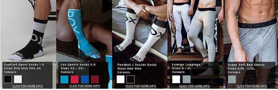 Five product photos side by side providing a comparison of fit and styles. From left to right, pictures black ankle sports socks, blue lux sport socks that fits slightly higher on the leg than sport socks, white and black football socks that fit much higher over the shin, luxurious grey leggings with a black waistband, and comfortable grey bed shorts in the same grey material as the leggings.
