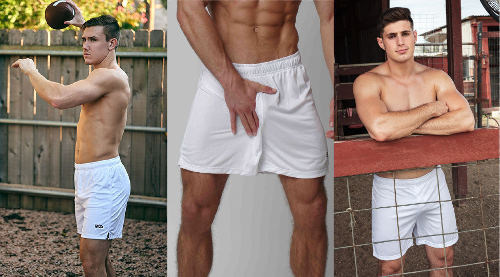 Three photos of men in white Sport Shorts and no shirts